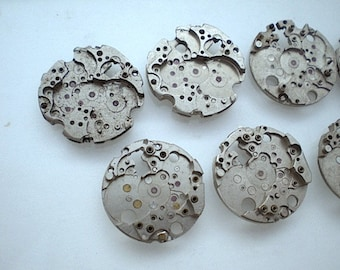 Vintage steampunk watch parts, 7 watch back plates (L3)