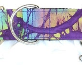 1.5 inch purple greyhound martingale dog collar, paint swirls, tie dye, splatter, collar with tag keeper--Artist Splatter