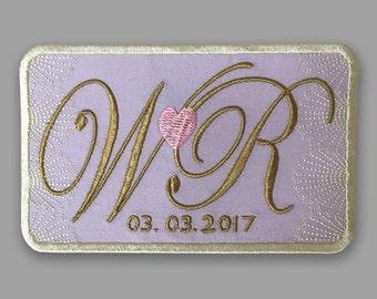 wedding label wedding patch madrina padrino bodas exclusive designs wedding shower gift monogram made to order something blue love heart