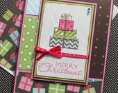 Christmas Giftcard Holder with Matching Embellished Envelope - Patchwork Present
