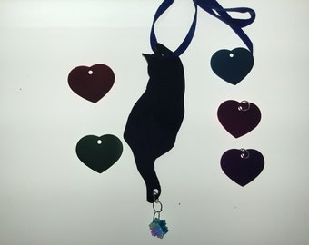 Cat Silhouette Ornament in Stained Glass