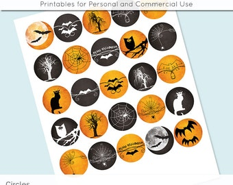 "Halloween  1 inch 1.25"" and 1.5"" Circles Collage Sheet for Glass and Resin Pendants Bottle Caps Digital Download JPG"