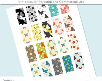 Butterflies Flowers 1x2 Domino Collage Sheet Digital Images for Domino Pendants Magnets Scrapbooking Journaling JPG D0061