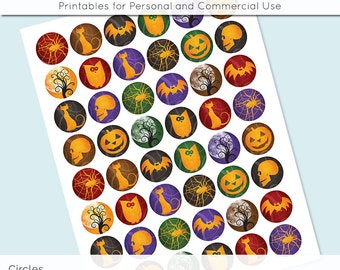 Halloween Digital Collage Sheet Circle 30mm 25mm 20mm Download Sheets for Glass or Resin Pendants Cuff Links Round