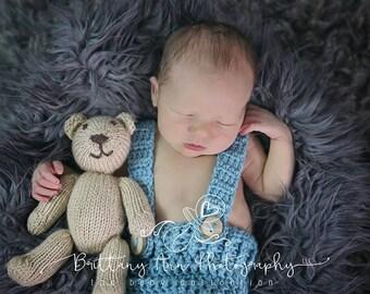 Sea Blue Newborn Baby Boy Photo Prop Shorts, 0 to 3 Month Blue Suspender Shorts