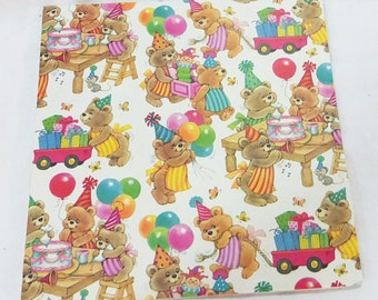 Vintage sunshine bears birthday party sheet gift wrap paper
