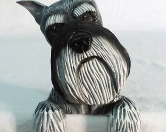 Vintage Michael Park Woodcarver door topper Schnauzer dog