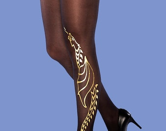 Gold dragon tights, burning man costume, available in S-M, L-XL