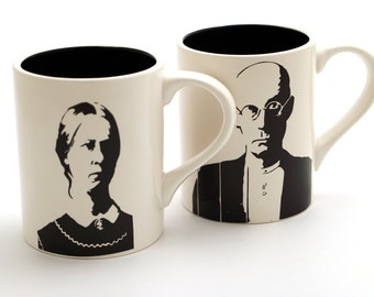 American Gothic - mr and mrs mug set - his and hers - Grant Wood art- midwestern wedding gift - gift for painter