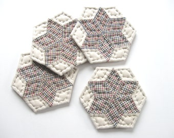 Rustic Star Fabric Coasters Quilted Coasters Quilted Mug Mats Country Home Decor Rustic Home Decor Primitive Decor Farmhouse Kitchen Decor
