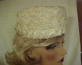 White pill box hat made of woven straw- fits 22""