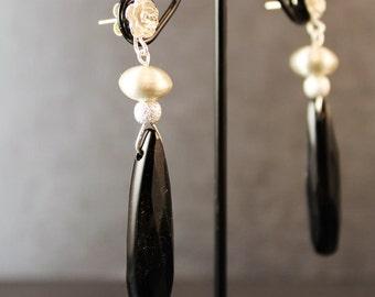 The Prokofiev Black Onyx Teardrop Briolette, Bali Silver bead and Sterling Silver Flower Post Earrings