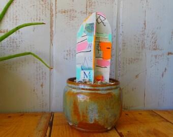 Abstract Mixed Media Paper Mache Cactus Sculpture
