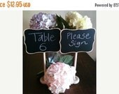 On SALE- 1 Fancy Large Chalkboard Table Stands with Chalkboard Label - Hostess Gift, Wedding Tables, Table Numbers, Buffet Stands, Chalkboar