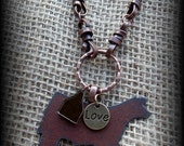 """Rustic Metal Show Steer, Cattle on Boho Style Leather & Chain Necklace Approx 26 1/2"""""""