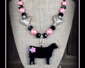Show Heifer Glass Pendant With Beaded Necklace