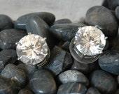 Huge Headlight Stud Earrings, Brilliant White Crystals, Like Diamonds! Bridal, Rhodium Plated, Whopping 7x12mm Stones, 8 ct each, Like New