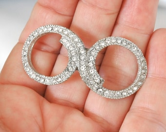 Vintage Rhinestone Finding, DIY Bride, Infinity-Style Circle Design, Harvested Part, New Crystals, Ready to Go, Excellent Condition
