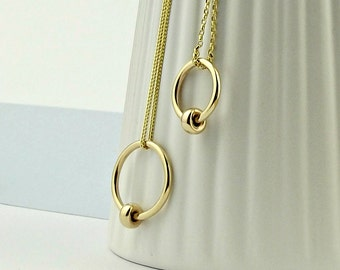 Simple Gold Necklace - 9ct gold -solid gold necklace-karma necklace-gold circle necklace-silversynergy-uk-minimal gold necklace-gift for mum