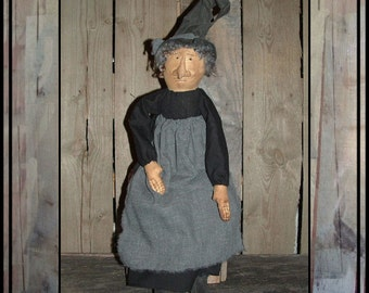 SALE mailed paper primitive folk art soft sculpted witch doll hafair ofg faap haguild 225