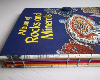 "Large Handbound Sketchbook, re-purposed vintage book ""Album of Rocks & Minerals"" with multimedia papers"