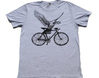 Peace Dove on a Bicycle - Mens T Shirt, Unisex Tee, Cotton Tee, Handmade graphic tee, Bicycle shirt, Bike Tee, sizes xs-xxl