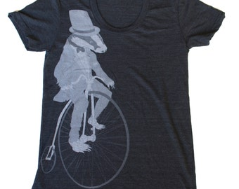 Badger on a Pennyfarthing Bicycle- Womens T Shirt, Ladies Tee, Tri Blend Tee, Handmade graphic tee, sizes s-xl