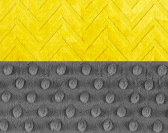 Minky Adult Blanket 60 x 70,  Personalized Charcoal Gray & Embossed Yellow Chevron Throw