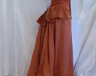 Copper Victorian inspired Dress two item skirt and bodice steampunk made from repurposed fabric
