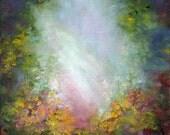 Healing Light, Spiritual Healing Art, Original Floral Garden Oil Painting by Marina Petro