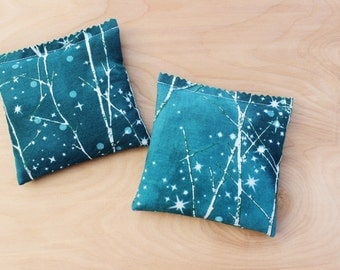 Teal Lavender Sachets, Bare Winter Trees, Scented Drawer Sachets, Cotton Anniversary Gift for Women
