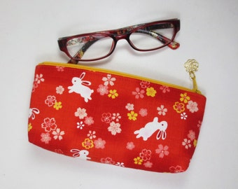 Sakura & Bunny Eyeglass Case / Zipper Pouch - Red