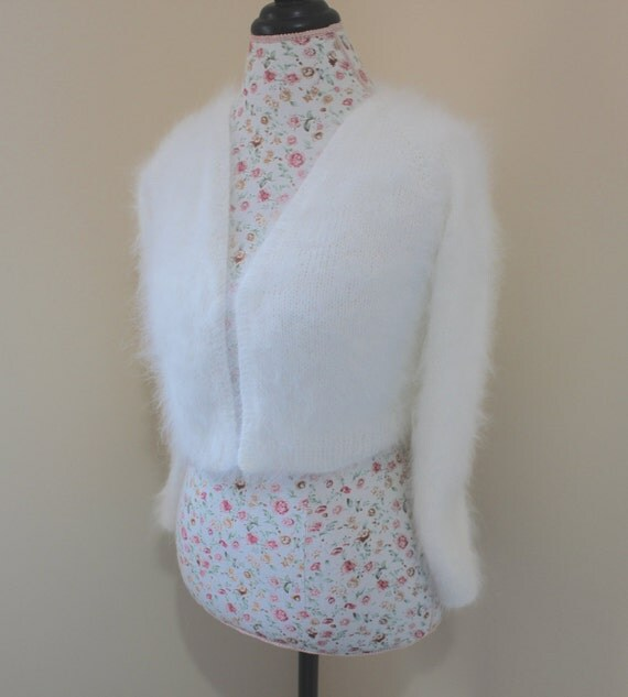 Reserved listing for Maggie/ Wedding Bolero 80% angora rabbit hand knit, V-neck, No buttons, long sleeves ~18 inches long from underarm