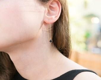 Blue Sapphire Solid 14k Gold Earrings Dangle Earrings Sophisticated Simple Long For Bride For Wedding Gift for Her Something Blue Gemstone