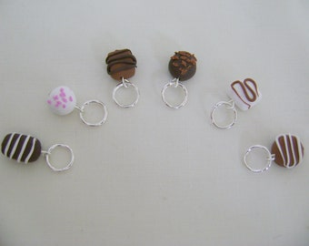 Polymer Clay Chocolates Stitch Markers for Knitting or Crochet (set of 6)