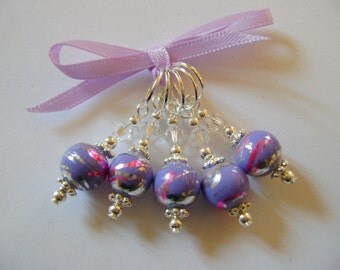 Lilac Artglass Stitch Markers for Knitting or Crochet