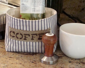 Small Ticking Fabric Basket with a Burlap Coffee Label - Select Your Color
