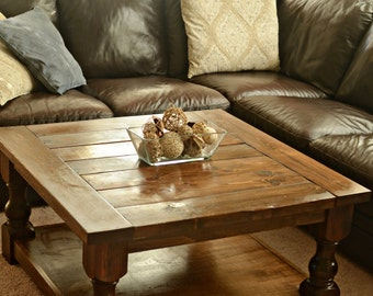 Custom square coffee table with turned legs