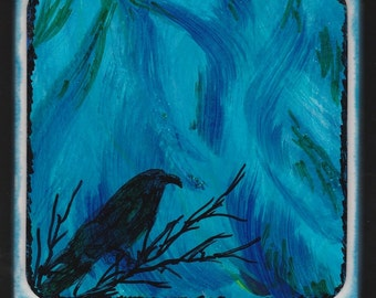 Crow Handmade Gift Drink Coaster Small Decoration Northern Lights Blue Green Sky Curtains Color Waves in the Sky Mixed Media One of a Kind