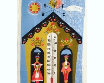 Vintage Tea Towel Thermometer Rooster Weather Vane Ulster Novelty Textile Kitchen Decor