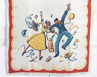 Vintage Bar Towel Dancing Couple Party Time Christmas New Year's Eve