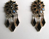 Antique 14K Gold and Onyx Victorian Earrings, Chandelier Earrings, Old Victorian Earrings (#2912)