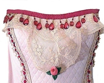 Antique Embellished Bustier, Edwardian Lace, Pink with red drops trim, Handsewn, Evening Wear, Antique flower trim