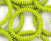 Chartreuse Green Flat Smooth Rondelles 6mm Czech Glass Beads - 50