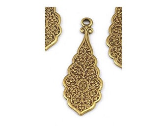 Solid Antiqued Brass Highly Detailed Victorian Style Drops for Earrings 30mm x 10mm  - 6