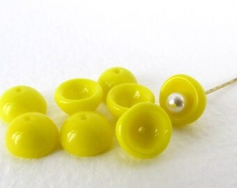 Vintage Beads Yellow Glass Bead Caps Canary Bright West Germany 9mm vgb0894 (8)