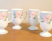 Four Victorian Rose by Saltera Mugs Cups Himark 1985 Japan