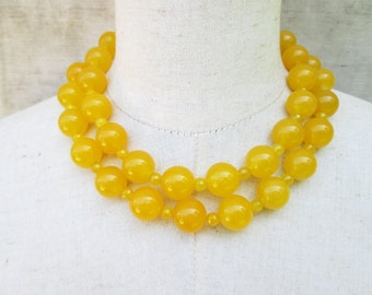 Chunky Double Strand Dark Yellow Beaded Necklace, Goldenrod Gemstone Beads Mustard