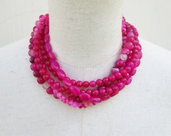 Hot Pink Multi Strand Beaded Layered  Statement Necklace