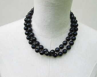 Black Double Strand Layered Beaded Necklace,